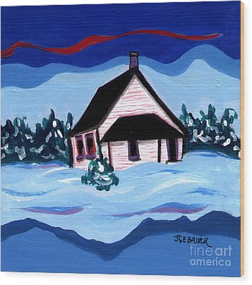 Wood Print featuring the painting Little White Schoolhouse by Joyce Gebauer