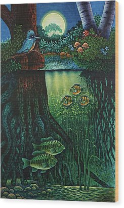 Little World Chapter Kingfisher Wood Print