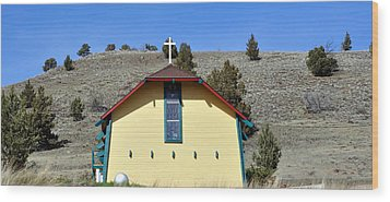Little Yellow Church Wood Print by Heather L Wright