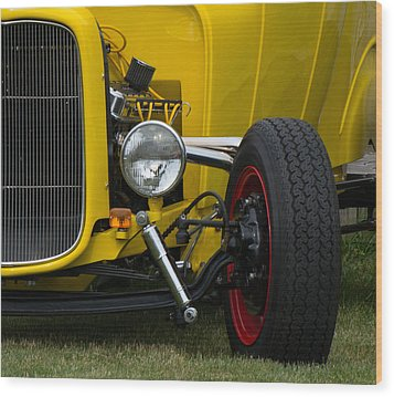 Little Yellow Coupe In Flushing Michigan Wood Print by Chris Spangler