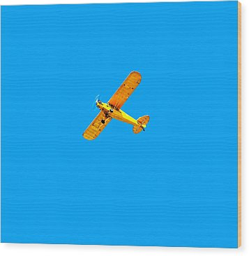 Wood Print featuring the photograph Little Yellow Flyer Plane by Tracie Kaska