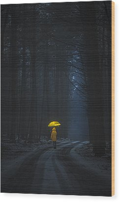 Little Yellow Riding Hood Wood Print