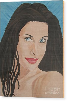 Wood Print featuring the painting Liv Tyler Painting Portrait by Jeepee Aero