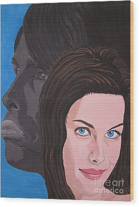 Wood Print featuring the painting Liv Tyler With Silhouet Steven Tyler by Jeepee Aero