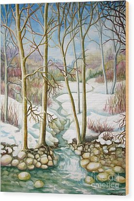 Wood Print featuring the painting Living Creek by Inese Poga