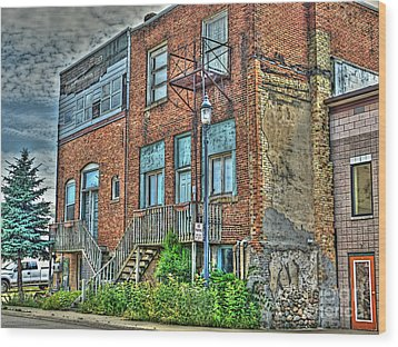 Living Downtown Up North Wood Print by MJ Olsen