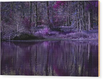 Living In A Purple Dream Wood Print by Linda Unger