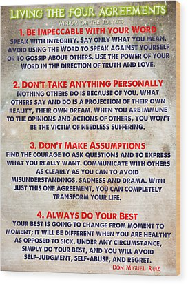 Living The Four Agreements - Wisdom Of The Toltecs Wood Print