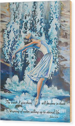 Living Water Scripture Wood Print by Tamer and Cindy Elsharouni