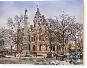 Livingston County Courthouse 06 Pontiac Il Wood Print by Thomas Woolworth