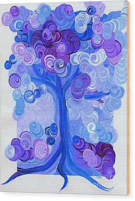 Liz Dixon's Tree Blue Wood Print by First Star Art