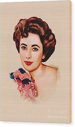 Liz Taylor  Wood Print by Andrzej Szczerski