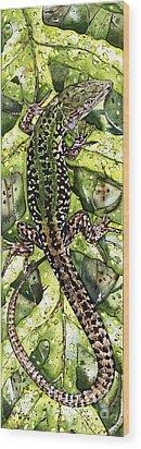 Wood Print featuring the painting Lizard In Green Nature - Elena Yakubovich by Elena Yakubovich