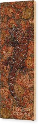 Wood Print featuring the painting Lizard In Red Nature - Elena Yakubovich by Elena Yakubovich