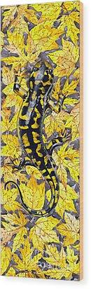 Wood Print featuring the painting Lizard In Yellow Nature - Elena Yakubovich by Elena Yakubovich