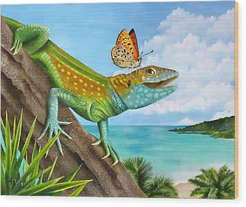 Lizard Landing Wood Print by Carolyn Steele