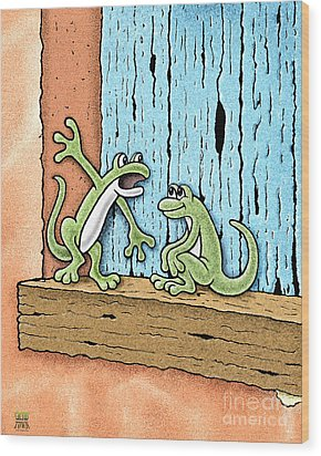 Wood Print featuring the drawing Lizard Lore by Cristophers Dream Artistry