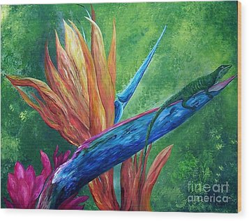 Wood Print featuring the painting Lizard On Bird Of Paradise by Eloise Schneider