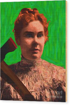 Lizzie Bordon Took An Ax - Painterly - Green Wood Print by Wingsdomain Art and Photography