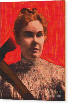 Lizzie Bordon Took An Ax - Painterly - Red Wood Print by Wingsdomain Art and Photography