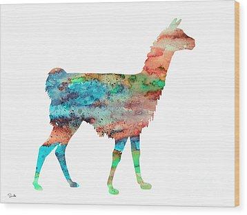 Llama Wood Print by Watercolor Girl