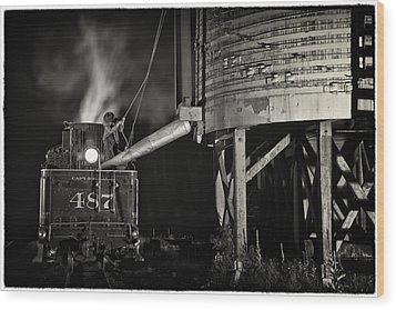Wood Print featuring the photograph Loading Water At Chama Train Station by Priscilla Burgers