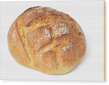 Loaf Of Bread On White Wood Print by Matthias Hauser