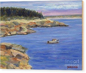 Lobster Boat In Jonesport Maine Wood Print by Pamela Parsons