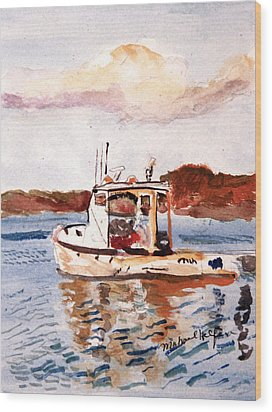 Lobster Boat Wood Print by Michael Helfen