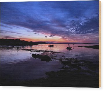 Lobster Boat Sunrise Wood Print