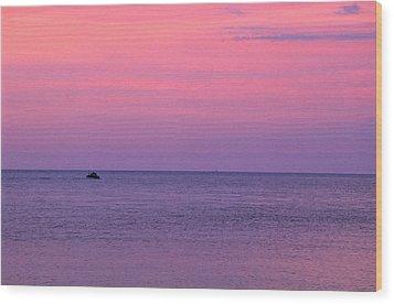 Lobster Boat Under Purple Skies Wood Print by Jeremy Herman