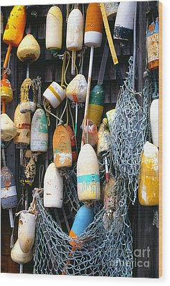 Lobster Buoys Fishermans Shed Wood Print by Thomas R Fletcher