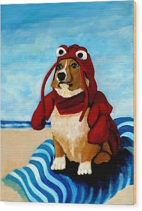 Lobster Corgi On The Beach Wood Print