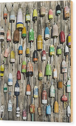 Lobster Shack Buoys Wood Print by John Greim