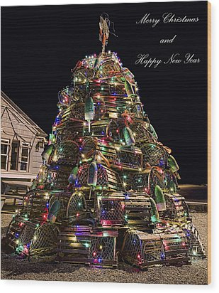 Wood Print featuring the photograph Lobster Trap Christmas Tree Card by Richard Bean