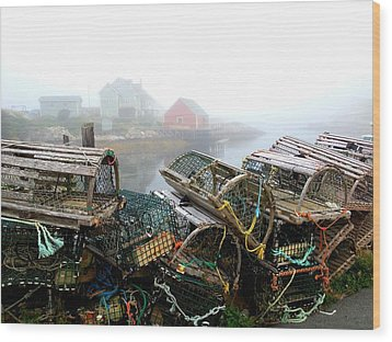 Lobster Traps And Fog Wood Print by Tracy Munson
