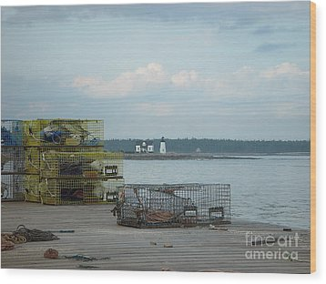 Lobster Traps At Prospect Harbor Wharf Wood Print by Christopher Mace