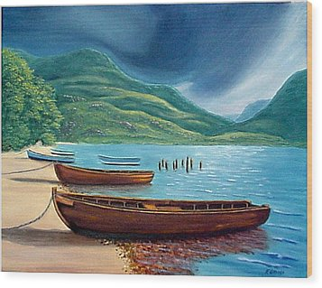 Wood Print featuring the painting Loch Maree Scotland by Fran Brooks