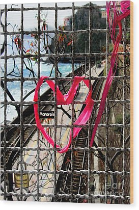Wood Print featuring the photograph Lock And Love.cinque Terre.italy by Jennie Breeze