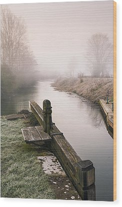 Wood Print featuring the photograph Lock Gates On A Still Misty Morning. by Trevor Chriss