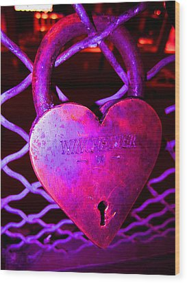 Lock Of Love In Pink Wood Print by Kym Backland
