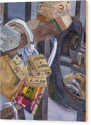Wood Print featuring the painting Locks Of Luck by Lynne Reichhart
