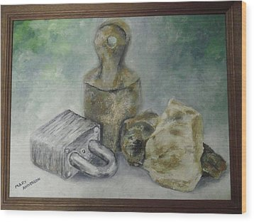 Wood Print featuring the painting Locked And Anchored by Mary Ellen Anderson