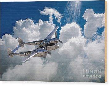 Lockheed P-38 Lightning Wood Print by Wernher Krutein