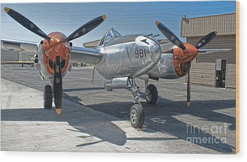 Lockheed P-38l Lightning Honey Bunny  - 01 Wood Print by Gregory Dyer