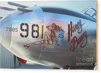 Lockheed P-38l Lightning Honey Bunny Nose Art - 05 Wood Print by Gregory Dyer