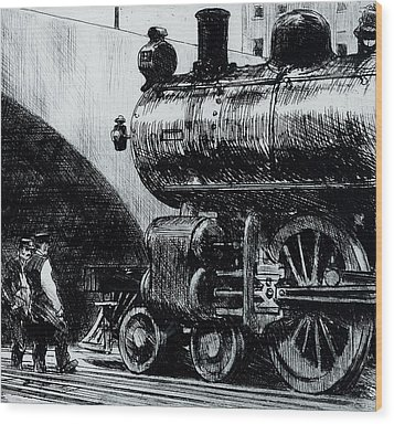 Locomotive Wood Print by Edward Hopper