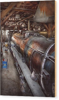 Locomotive - Routine Maintenance  Wood Print by Mike Savad