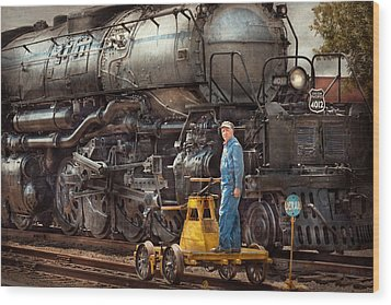 Locomotive - The Gandy Dancer  Wood Print by Mike Savad