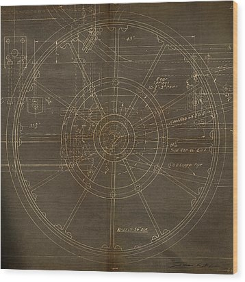 Locomotive Wheel Wood Print by James Christopher Hill